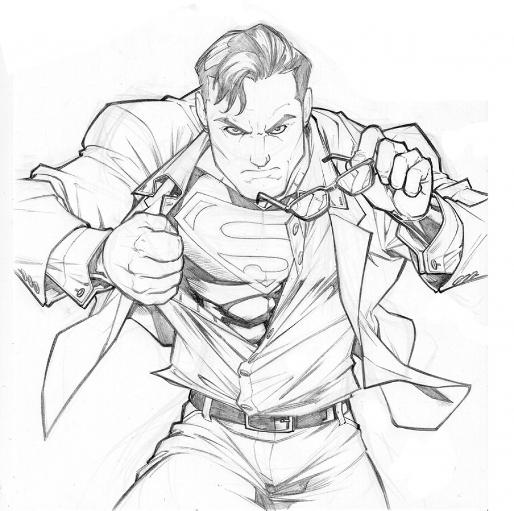 1024x1018 Superman Drawing In Pencil Superman Drawing In Pencil Easy
