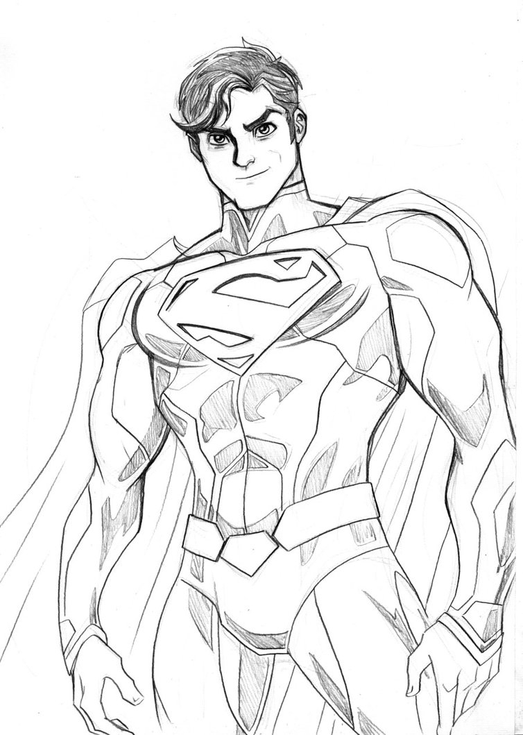 754x1059 Superman Drawings In Pencil Easy
