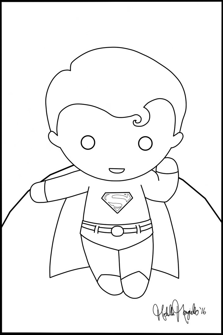 730x1095 Chibi Superman Coloring Page By Kitty Stark