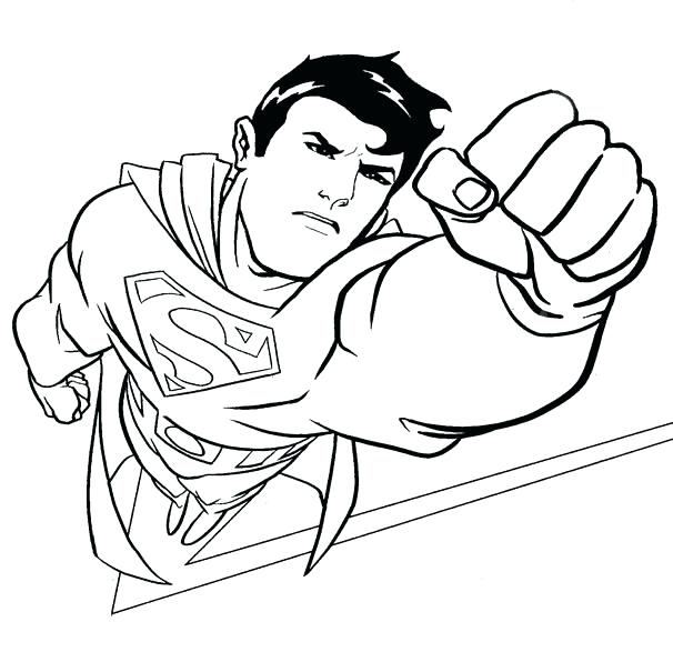 606x596 Superman Color Page Drawing Superman Superman Coloring Pages
