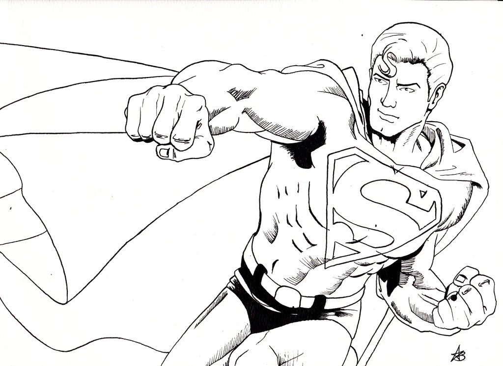 1024x746 Superman Line Drawing By Demon Dame 666