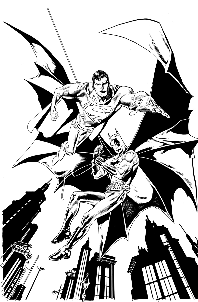 808x1233 Kevin Nowlan Old Superman And Batman Commission