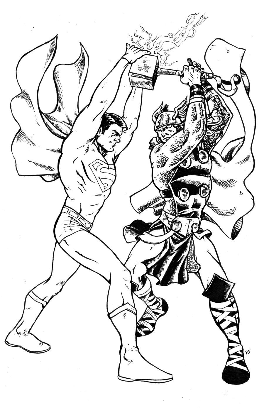 900x1391 Superman Vs Thor Inks By Ramonvillalobos