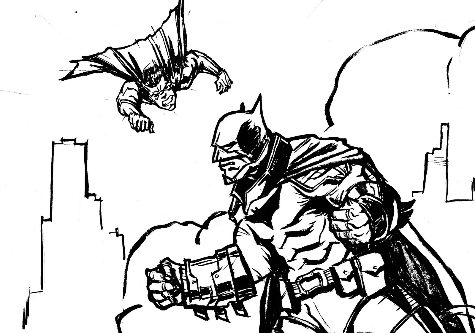 superman returns coloring pages - superman vs batman drawing at free for