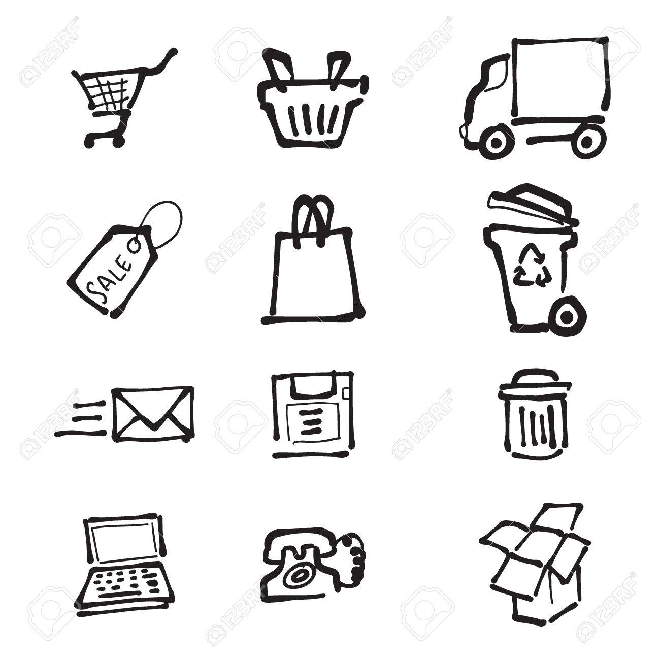 1300x1300 Supermarket Direct Mail And Delivery Cartoon Drawing Icons Royalty