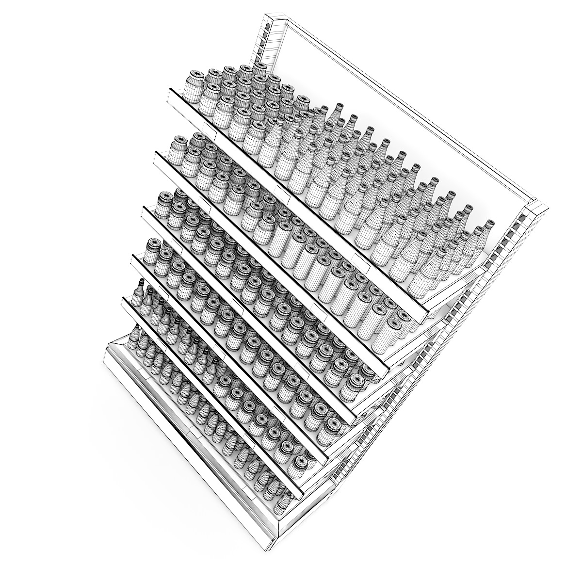 1200x1200 Supermarket Shelf Products 3d Model Cgtrader