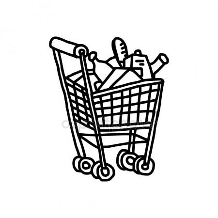 450x450 Illustration Vector Hand Drawn Doodle Of Supermarket Shopping Cart