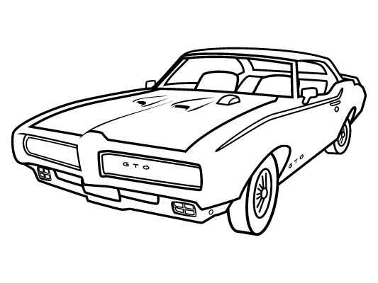 533x400 Classic Car Coloring Pages The Old And Muscle Car
