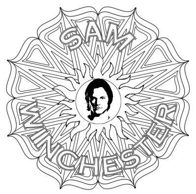398x394 Sam Winchester Supernatural Mandala Grown Up Colouring