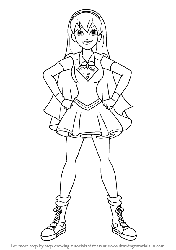 596x843 Step By Step How To Draw Supergirl From Dc Super Hero Girls