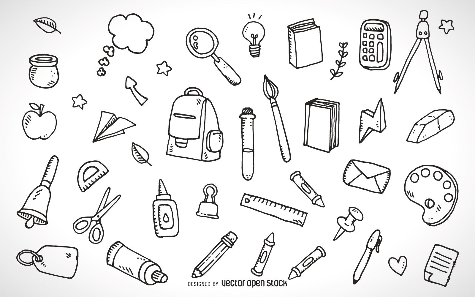 1600x1000 School Supplies Elements Outline