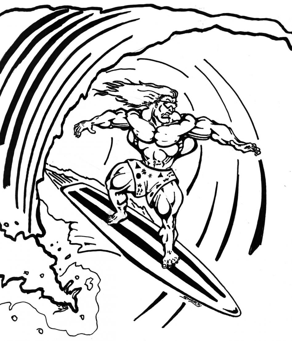 This is a graphic of Ridiculous Surfing Coloring Pages