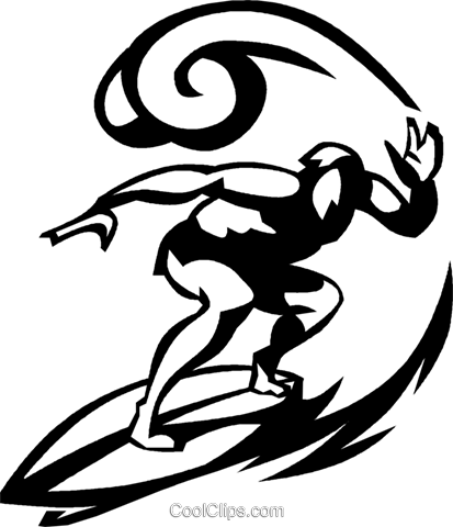 413x480 Man Surfing On A Surfboard Royalty Free Vector Clip Art