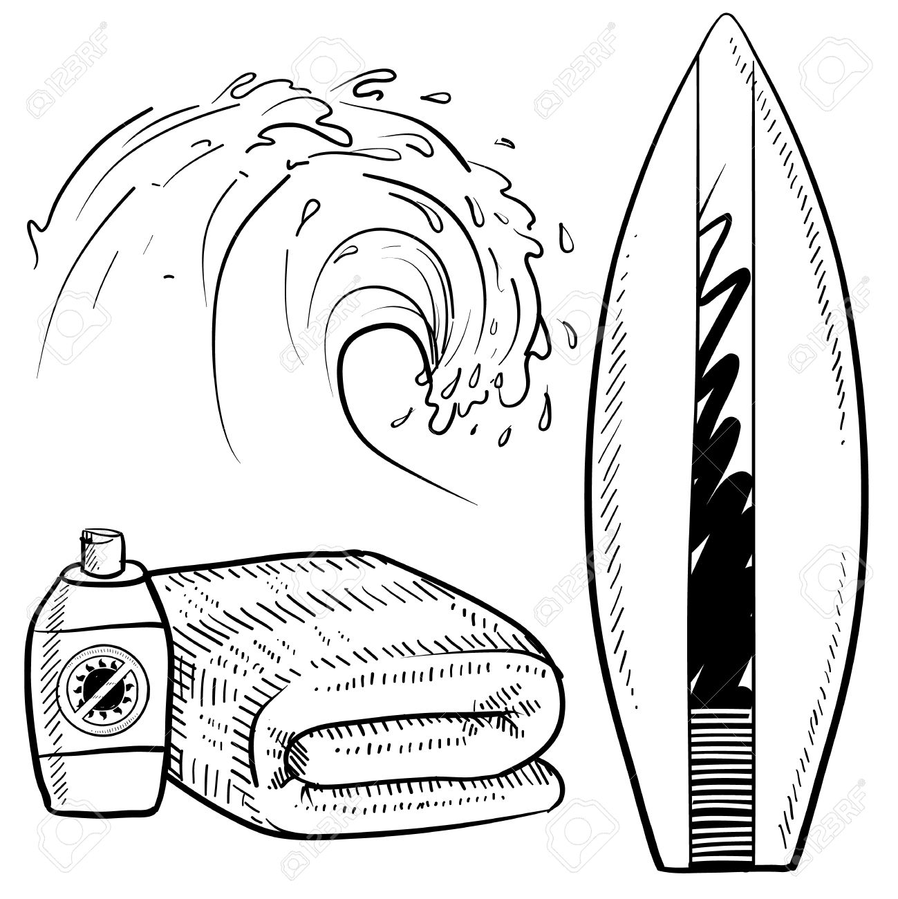 1299x1300 Doodle Style Surfing Gear Sketch In Vector Format Set Includes