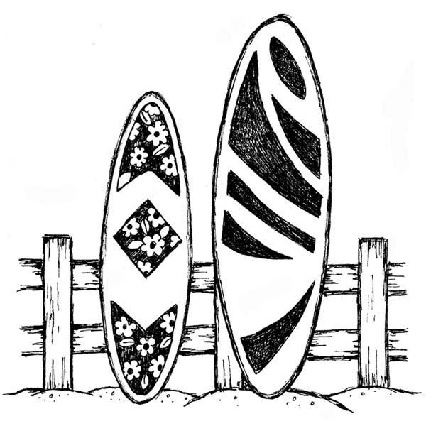 600x600 Surf Boards Rubber Stamp
