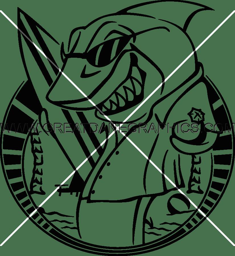 825x896 Surf Shark Production Ready Artwork For T Shirt Printing