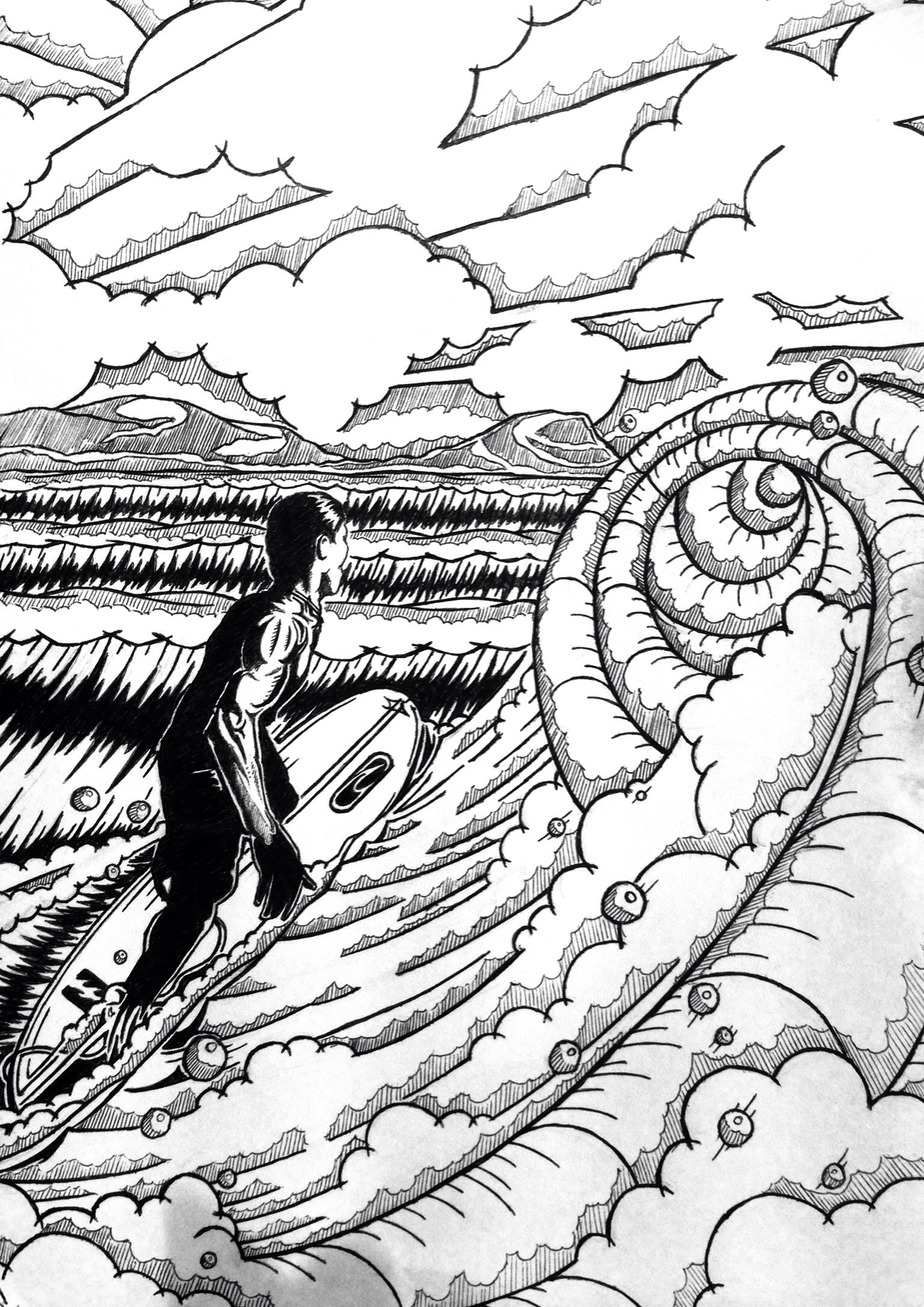 1536x2172 Surfer Girl. Pen And Ink Drawing By Huw Williams Surf Art By Huw