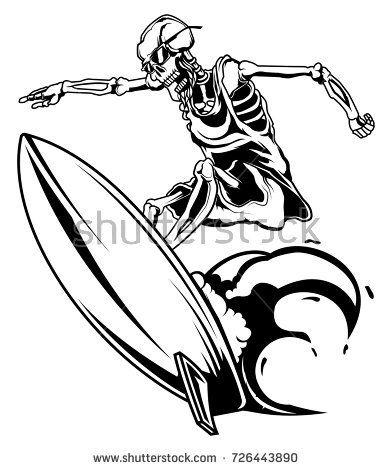 392x470 Stock Vector Monochrome Illustration Of Skeleton On Surfing Board