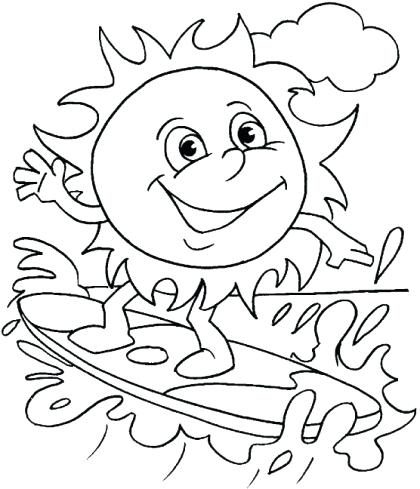 420x489 Surfboard Coloring Pages Summer Coloring Picture Of The Sun Riding