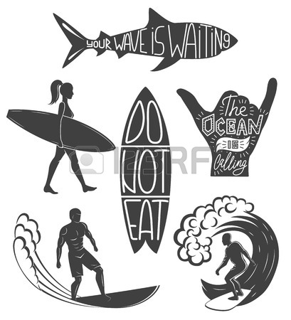 409x450 Woman Goes Surfing With Surfboard. Surf Vintage Logo. Vector