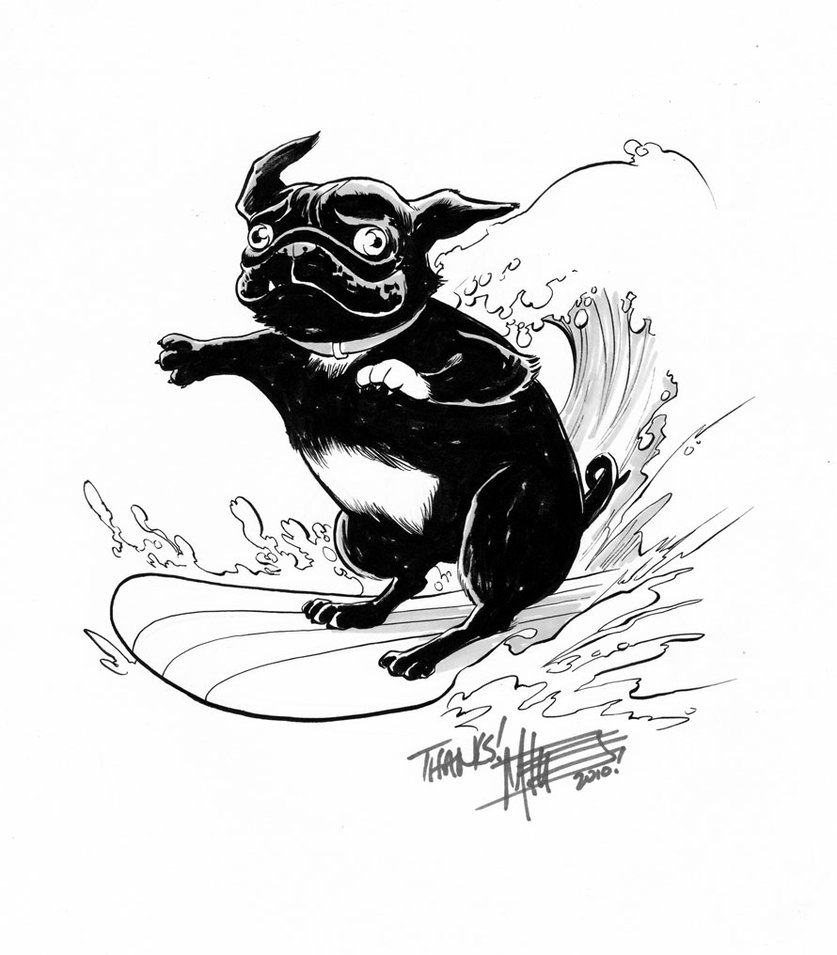 837x955 Roxy The Surfing Pug By Miketron2000