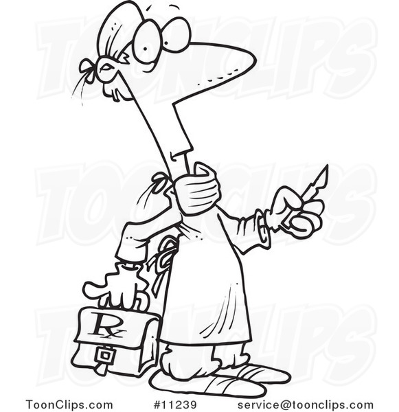 581x600 Cartoon Blacknd White Line Drawing Of Surgeon Holding