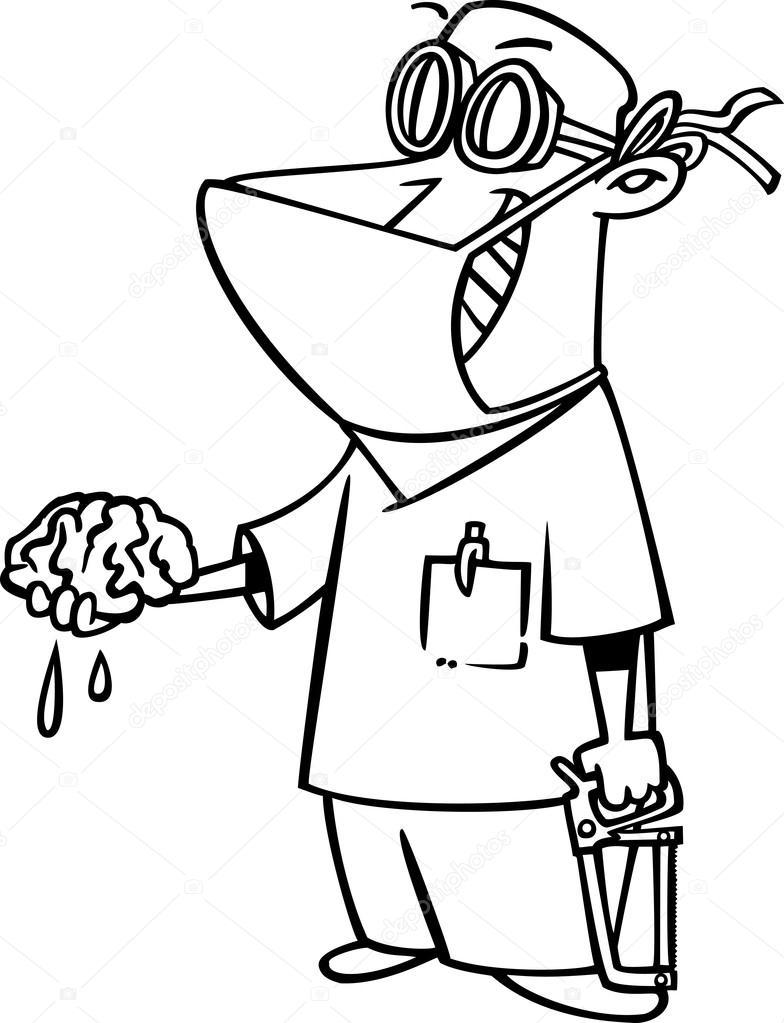 784x1023 Cartoon Brain Surgeon Stock Vector Ronleishman