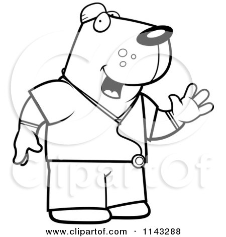 450x470 Cartoon Clipart Of A Black And White Dog Surgeon Doctor In Scrubs