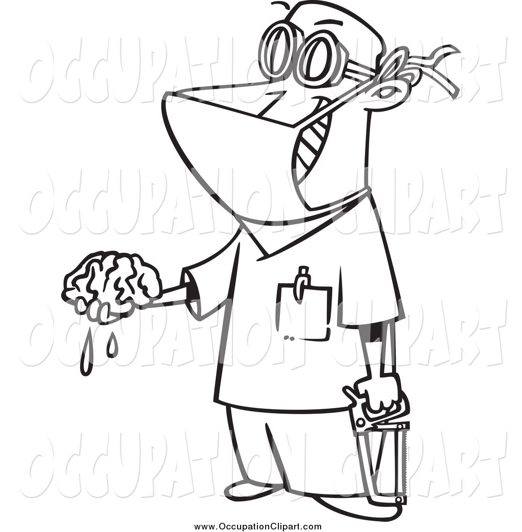 1024x1044 Clip Art Of A Black And White Male Surgeon Holding A Brain Out By