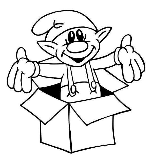 600x646 A Cute Little Elf Giving A Christmas Surprise Coloring Page