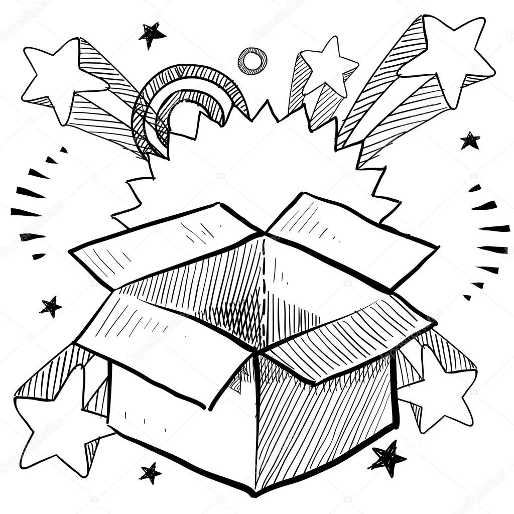 1024x1024 Box Or Package Surprise Sketch Stock Vector Lhfgraphics