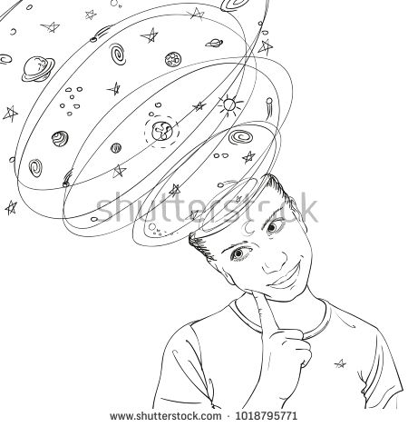 450x470 Sketch Of Dreamer Teenage Girl Portrait With Surreal Space, Galaxy