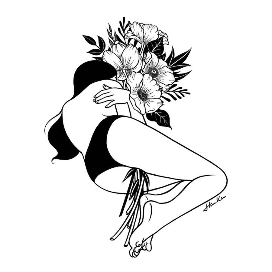 900x900 Amazing Surreal Black Amp White Illustration Of Girls