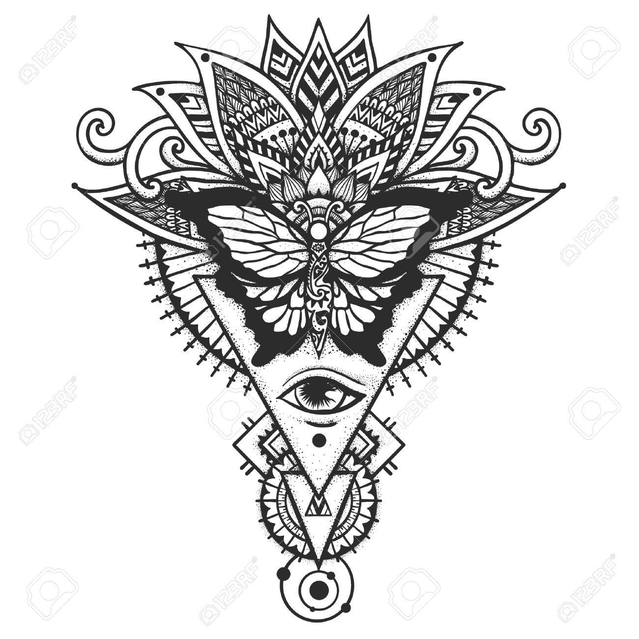 1300x1300 Butterfly On Ethnic Leaves All Seeing Eye, Freemason