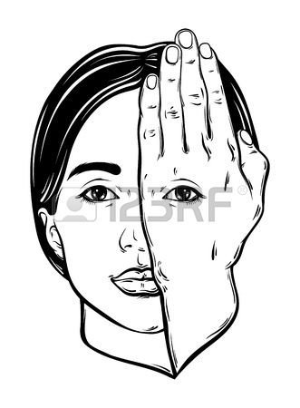 331x450 Vector Hand Drawn Illustration Of Woman Face With Eye On Her