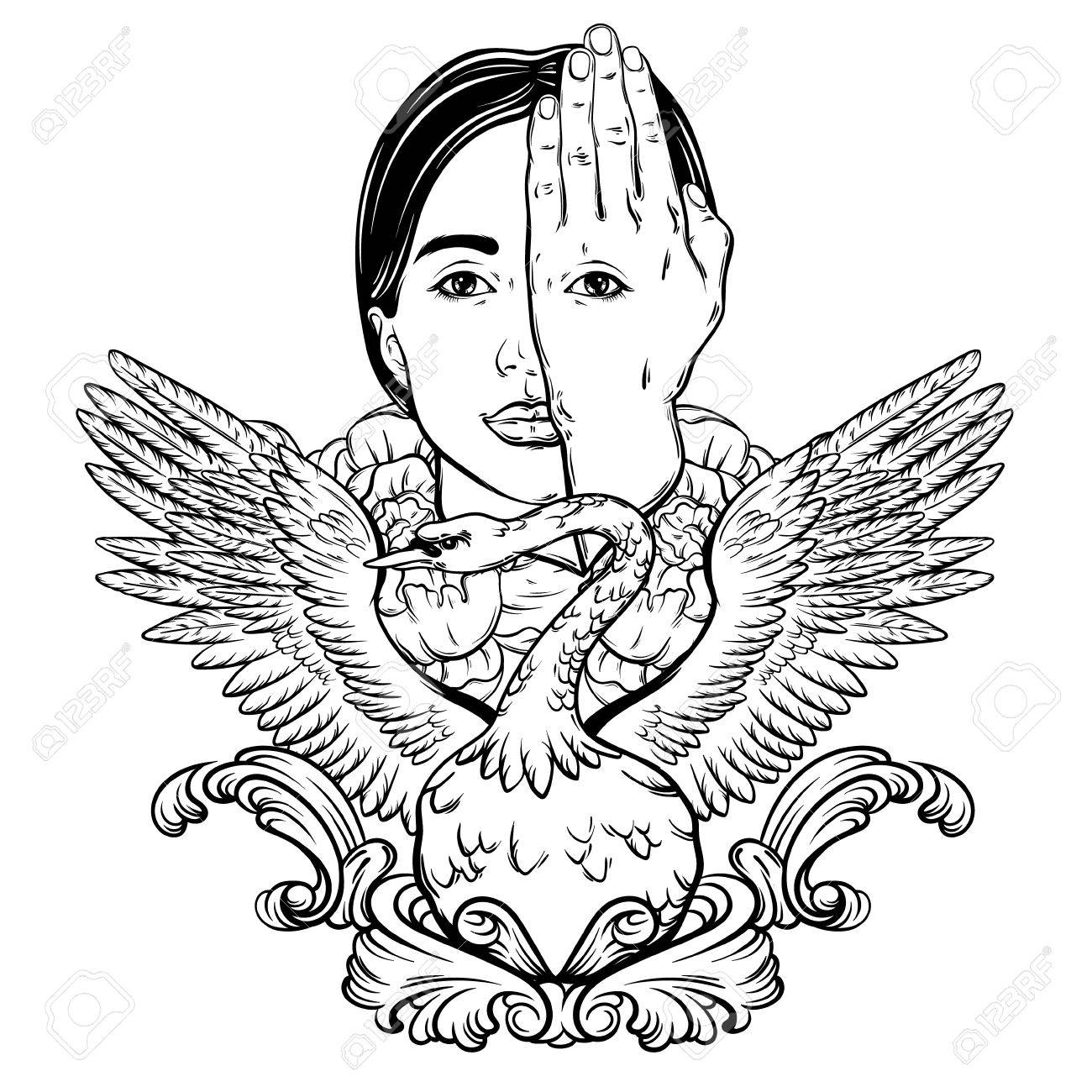 1300x1300 Vector Hand Drawn Illustration Of Woman Face With Eye On Her Hand