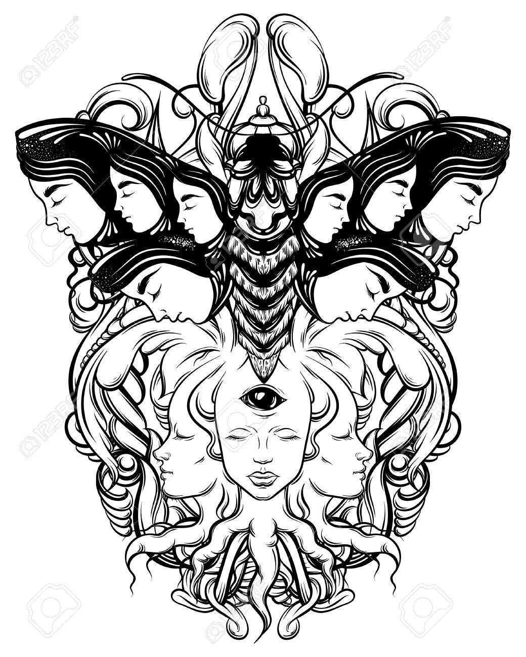 1040x1300 Vector Hand Drawn Illustration Of Fortune Teller With Three Eyes