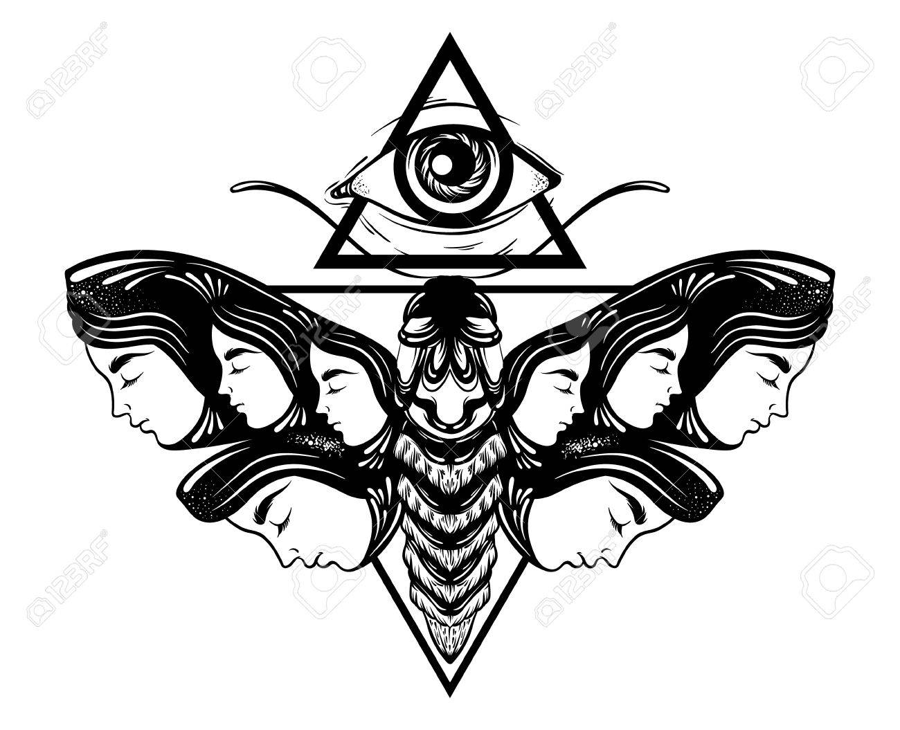 1300x1055 Vector Hand Drawn Illustration Of Moth With Female Faces On