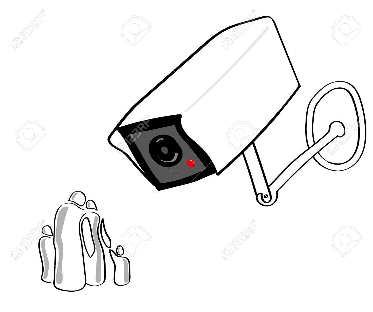 1300x1088 A Giant Cctv Or Surveillance Camera Looks Down On A Stylized