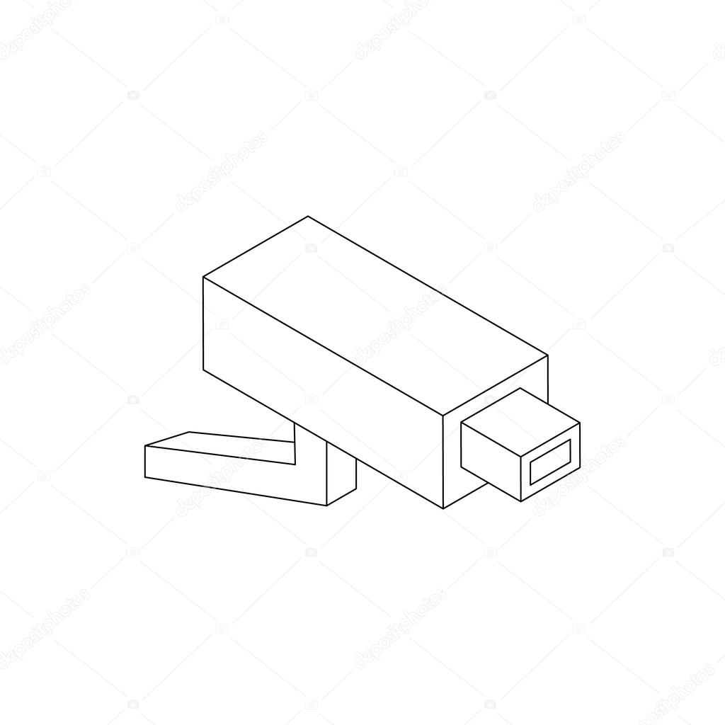 1024x1024 Surveillance Camera Icon, Isometric 3d Style Stock Vector