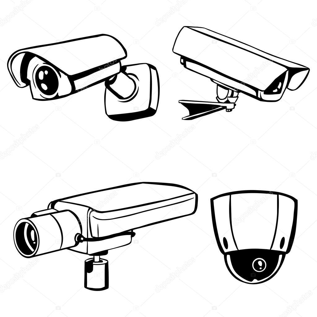 1024x1024 Vector Silhouettes Of Cctv Cameras Stock Vector Nikiteev