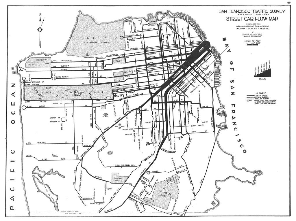 1024x767 San Francisco Traffic Survey Street Car Flow Map (1937)