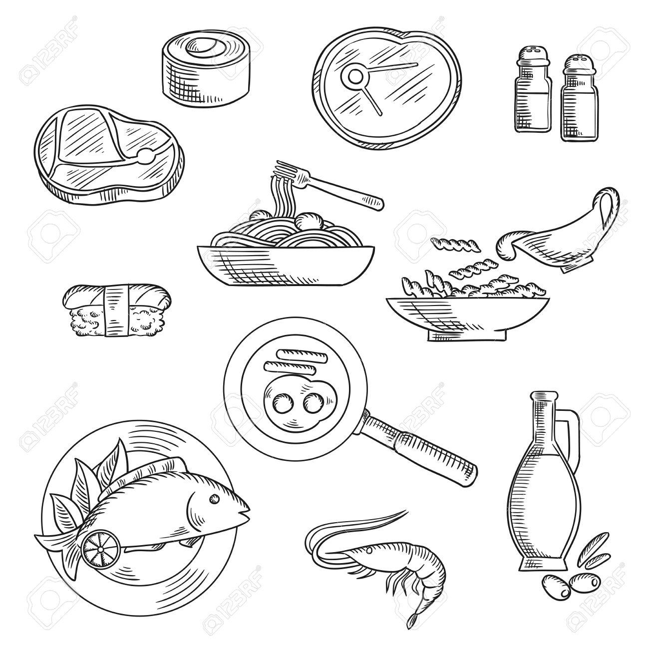 1300x1300 Healthy Food Sketch Icons Of Sushi Roll Nigiri, Pasta