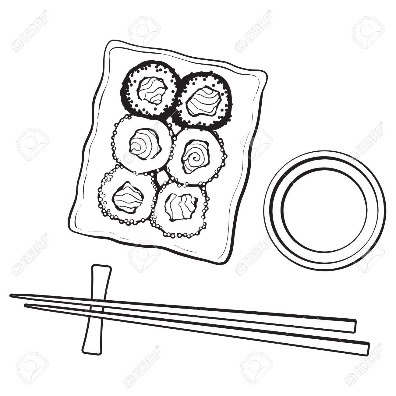 1300x1300 Plate Of Japanese Sushi, Rolls, Chosticks And Soy Sauce Bowl