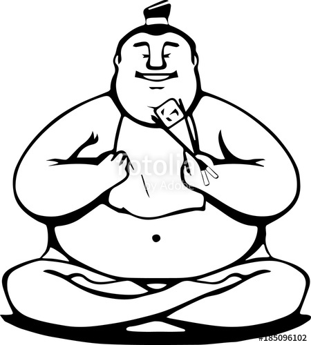 450x500 An Isolated Fat Japanese Sumo Man Sitting And Eating Sushi Roll By