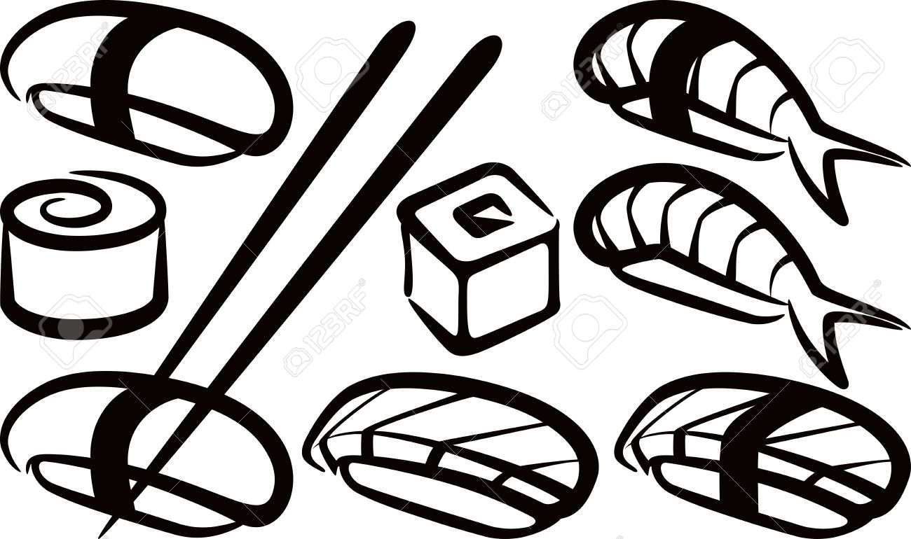 1300x770 Simple Illustration With A Set Of Sushi Royalty Free Cliparts