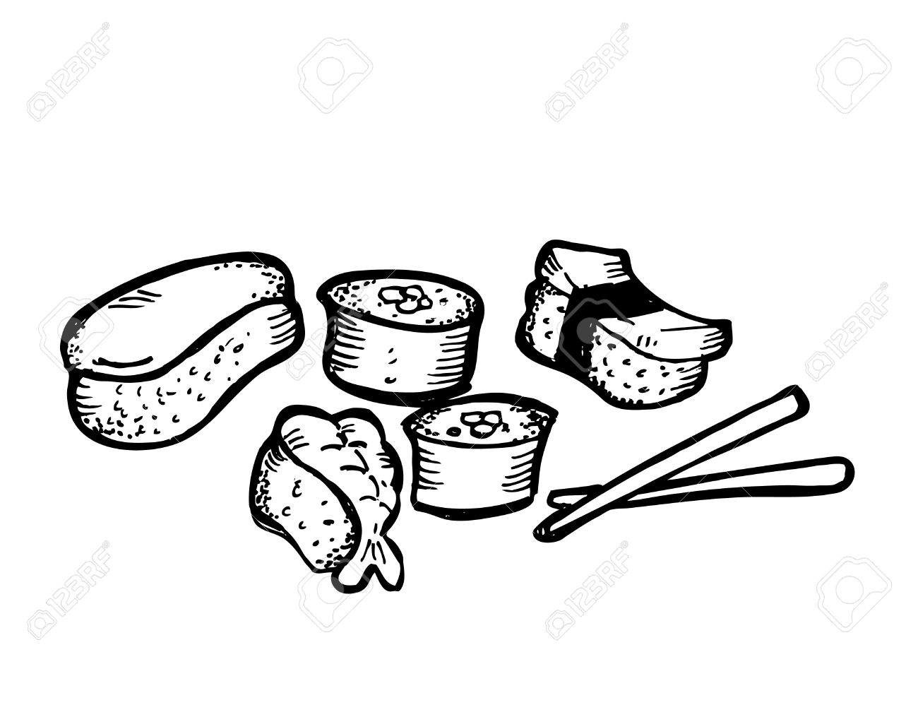 1300x998 Sushi Roll Doodle Royalty Free Cliparts, Vectors, And Stock