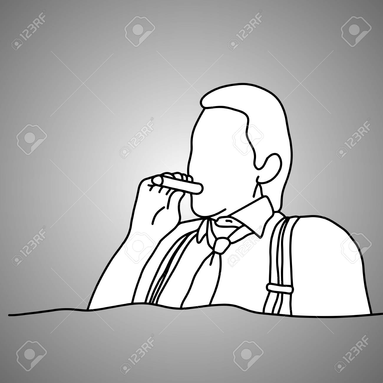 1300x1300 Businessman With Suspenders Or Braces Smoking Cigar Vector