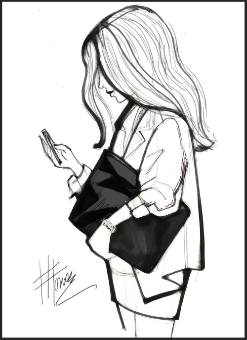 500x687 Drawing Of A Girl And Her Phone Digital Fashion Illustration