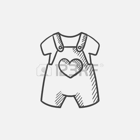 450x450 Baby Shirt And Shorts With Suspenders Vector Sketch Icon Isolated